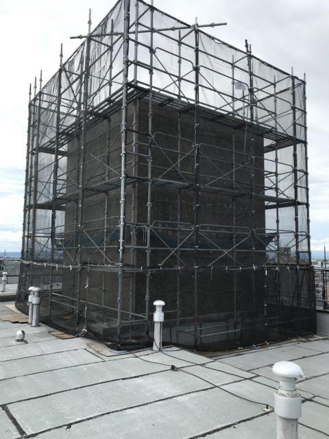 会津若松市くさび式本足場(先行手摺据え置き使用・システム朝顔)