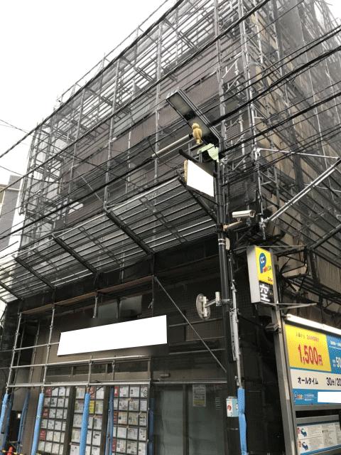 練馬区のくさび式本足場工事(黒メッシュ使用)